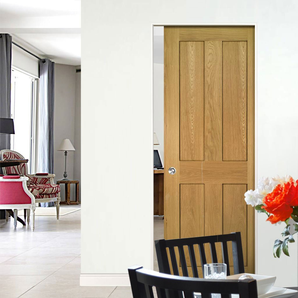 Eton Oak Absolute Evokit Single Pocket Door - Unfinished