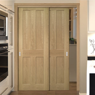 Image: Two Sliding Doors and Frame Kit - Eton Real American White Oak Veneer Door - Unfinished