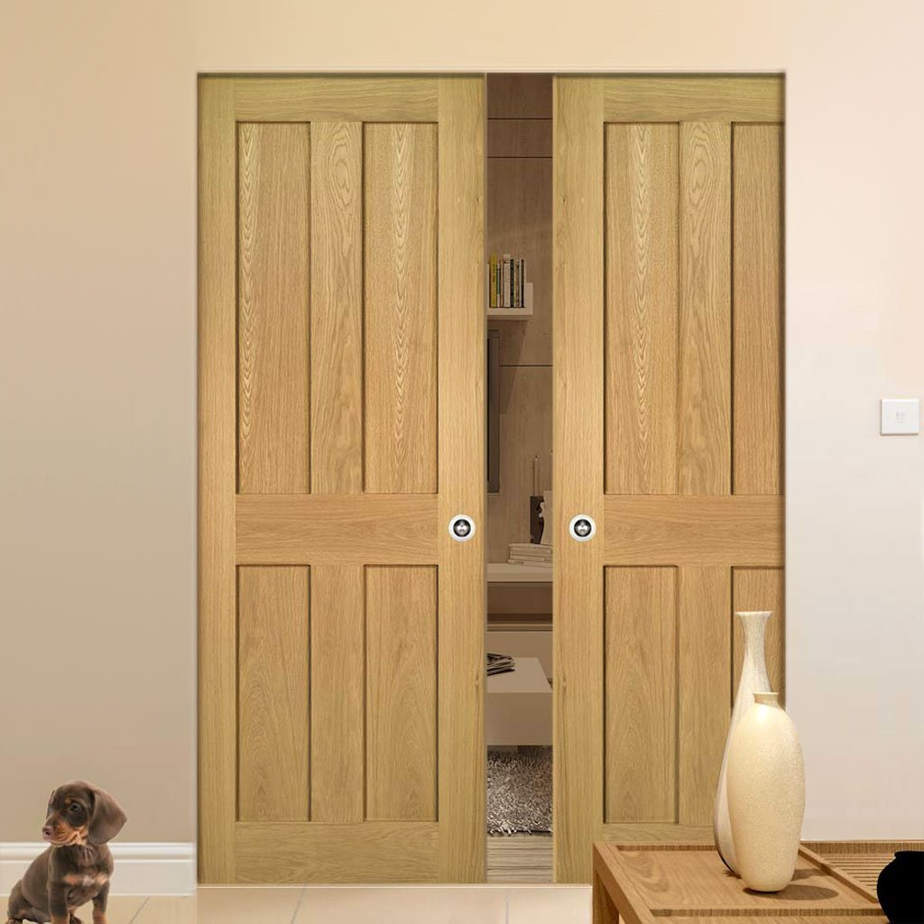 Eton Oak Absolute Evokit Double Pocket Doors - Unfinished