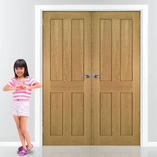 Image: Eton Real American White Oak Veneer Door Pair - Unfinished