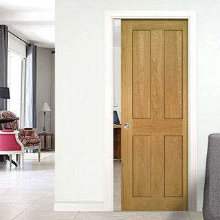 Image: Eton Real American White Oak Veneer Single Evokit Pocket Door - Unfinished