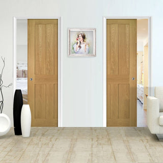 Image: Eton Real American White Oak Veneer Unico Evo Pocket Doors - Unfinished