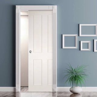 Image: Eton Victorian Shaker Single Evokit Pocket Door - White Primed