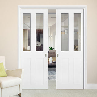 Image: Eton Victorian Shaker Double Evokit Pocket Doors - Clear Glass - White Primed