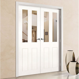 Image: Eton White Primed Victorian Shaker Door Pair - Clear Glass