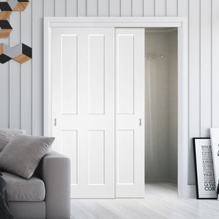 Image: Two Sliding Doors and Frame Kit - Eton White Primed Victorian Shaker Door