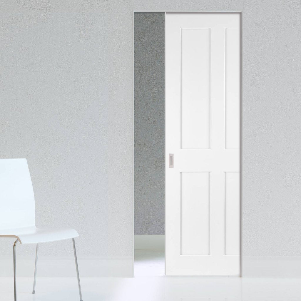 Eton Victorian Shaker Absolute Evokit Single Pocket Door - White Primed