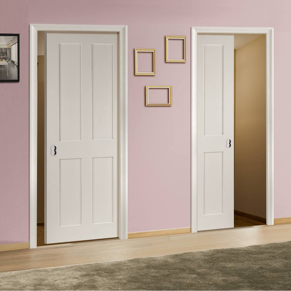 Eton Victorian Shaker Unico Evo Pocket Doors - White Primed