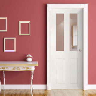Image: Eton White Primed Victorian Shaker Door - Clear Glass from Deanta UK