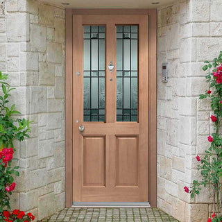 Image: Malton Mahogany Door - Dowel Jointed Door - Drydon Pattern Double Glazing