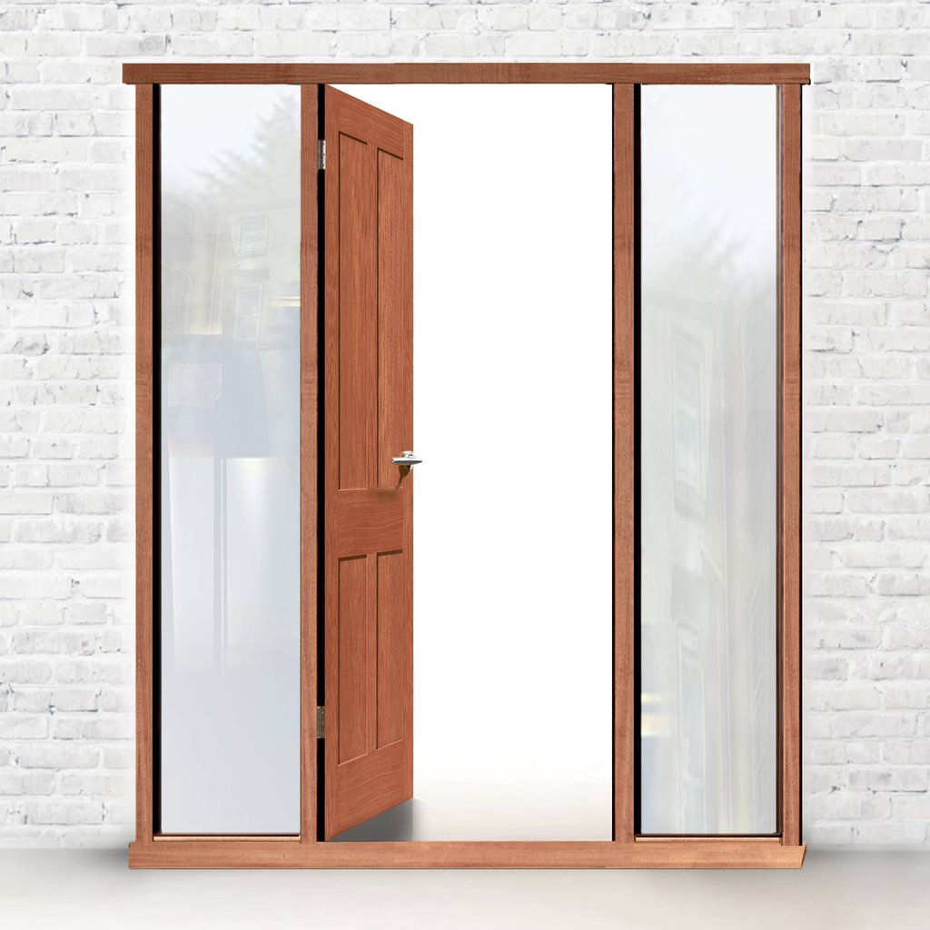 Exterior XL Joinery Door Frame, Hardwood veneered with apertures for side glass
