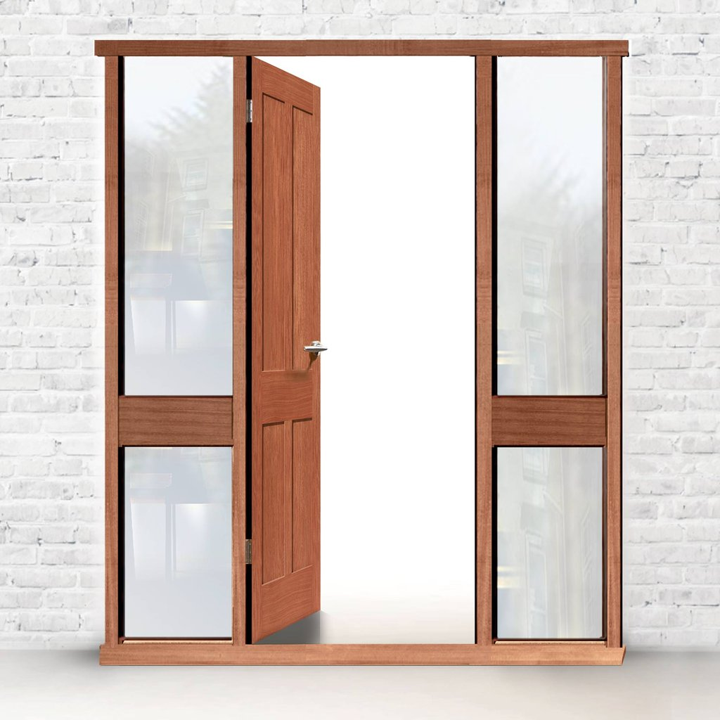 Exterior Door Frame with side glass apertures, Made to size, Type 3 Model 2.