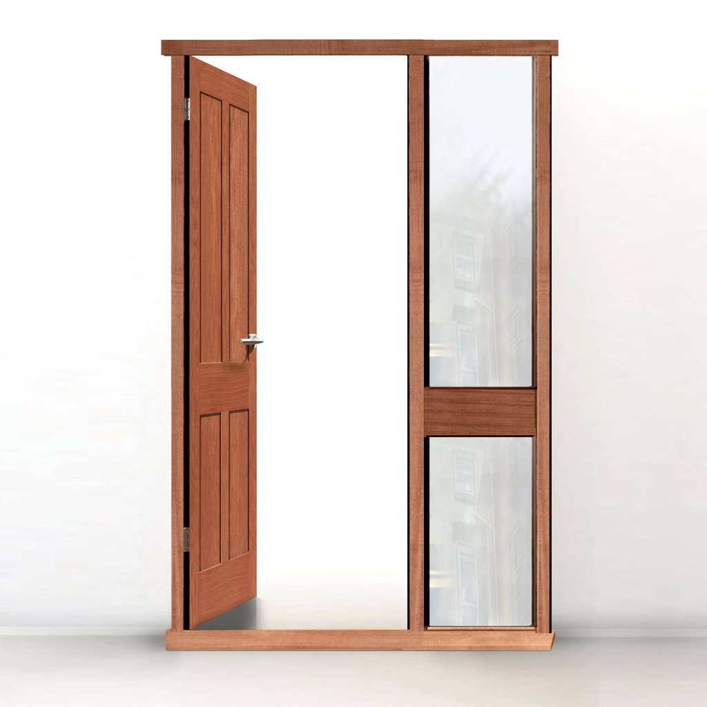 Exterior Door Frame with side glass apertures, Made to size, Type 2 Model 4.