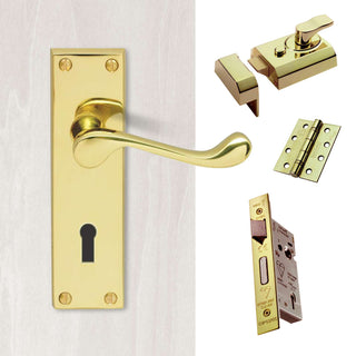 Image: External CBS54 - Contract Range - Victorian Lever Front Door Handle Pack - Brass Finish