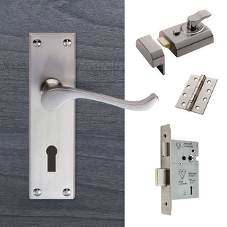 Image: External DL54 Victorian Scroll Lever Front Door Handle Pack - Chrome Finish
