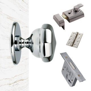 Image: External M219 Victorian Octagonal Knob Front Door Handle Pack - Chrome Finish