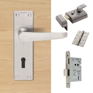 Image: External M30 Victorian Suite Lever Front Door Handle Pack - Chrome Finish