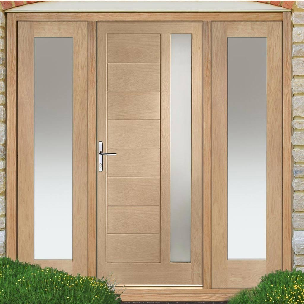 Modena Exterior Oak Door and Frame Set - Two Side Screens - Frosted Double Glazing
