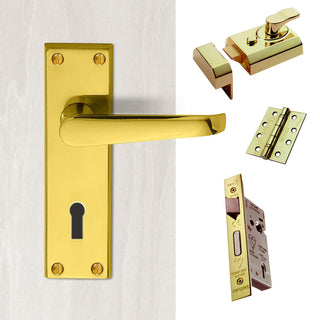 Image: External M30 Victorian Suite Lever Front Door Handle Pack - Brass Finish