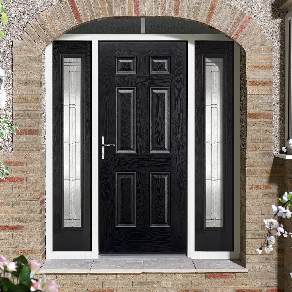 GRP Black & White Colonial 6 Panel Composite Door - Two Sidelights