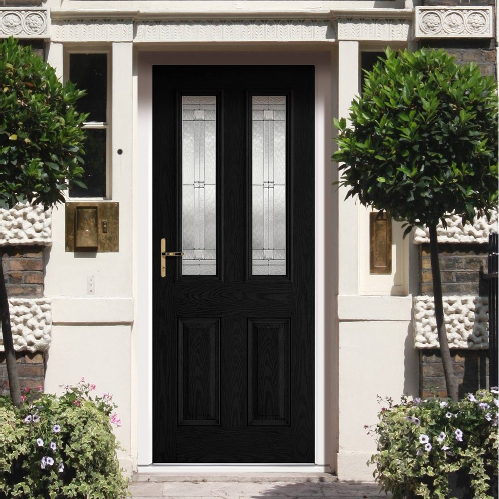 GRP Black & White Malton Composite Door - Leaded Double Glazing