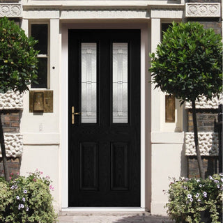 Image: GRP Black & White Malton Composite Door - Leaded Double Glazing
