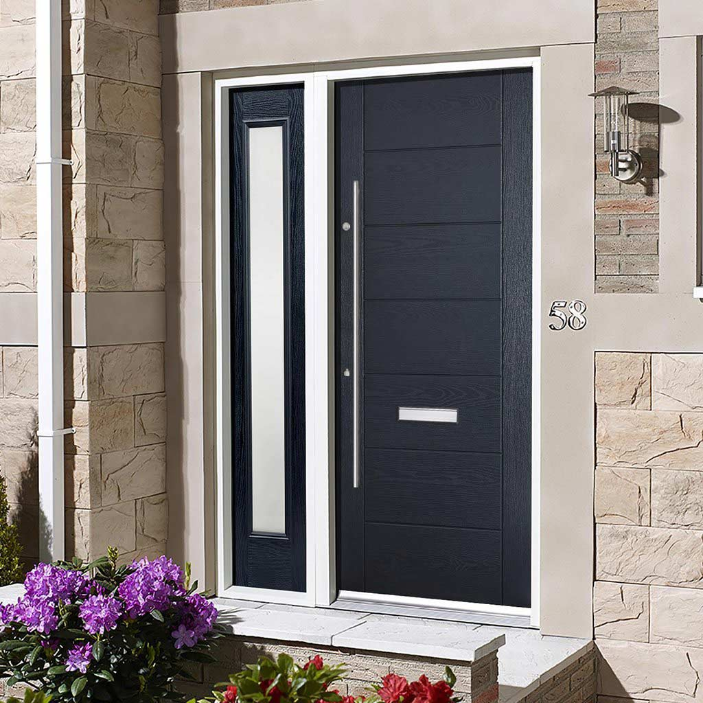 GRP Grey Modica Composite Door - Frosted Single Sidelight