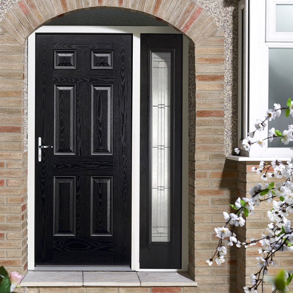 GRP Black & White Colonial 6 Panel Composite Door - Leaded Single Sidelight