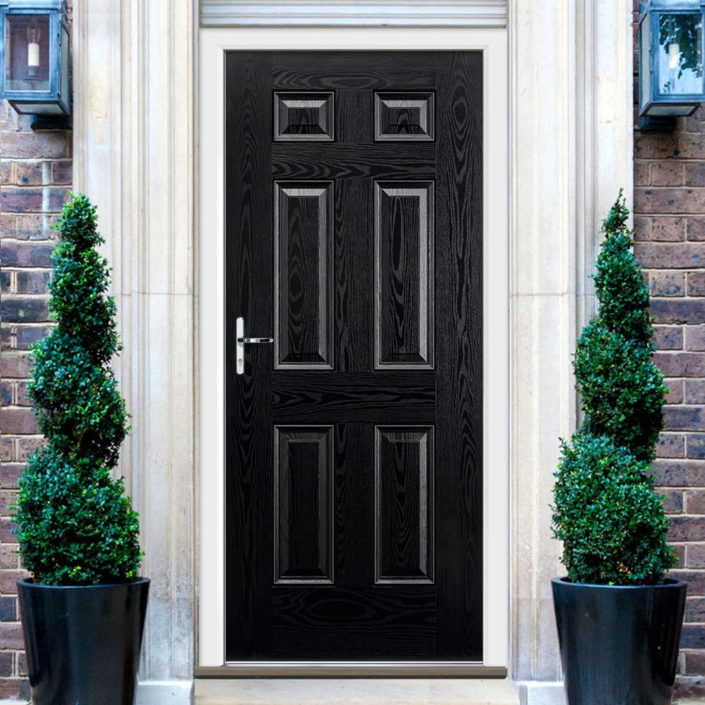 GRP Black & White Colonial 6 Panel Composite Door