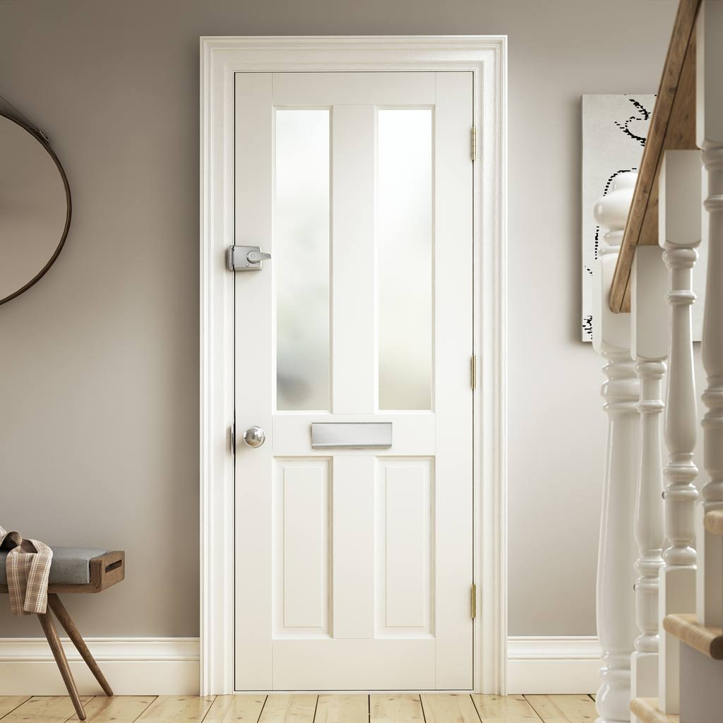 Extreme Weather Colonial White Door - Opaque Glass