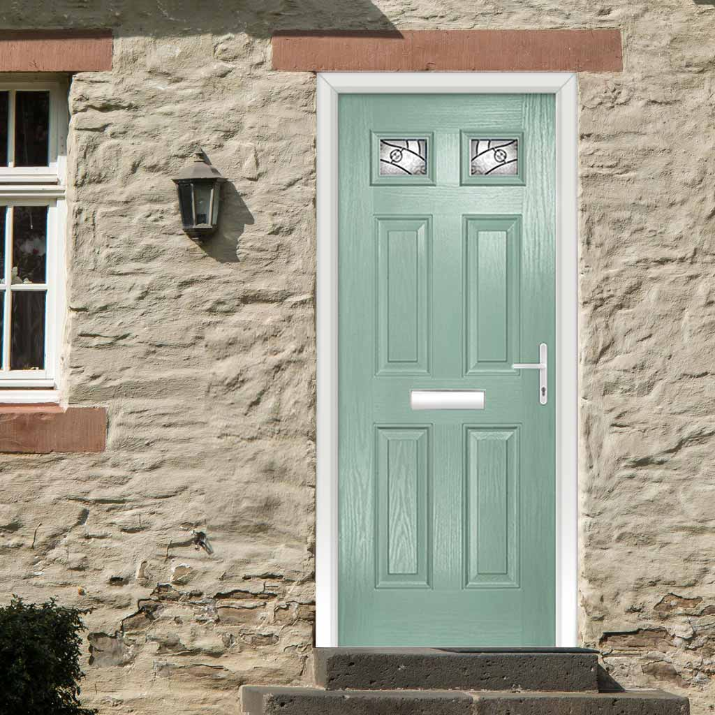 Premium Composite Entrance Door Set - Camarque 2 Abstract Glass - Shown in Chartwell Green