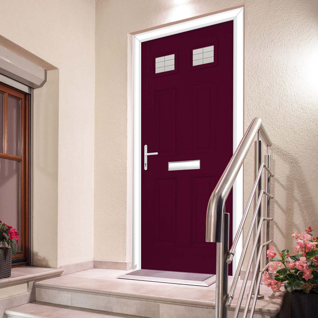 Premium Composite Entrance Door Set - Camarque 2 Linear Glass - Shown in Purple Violet