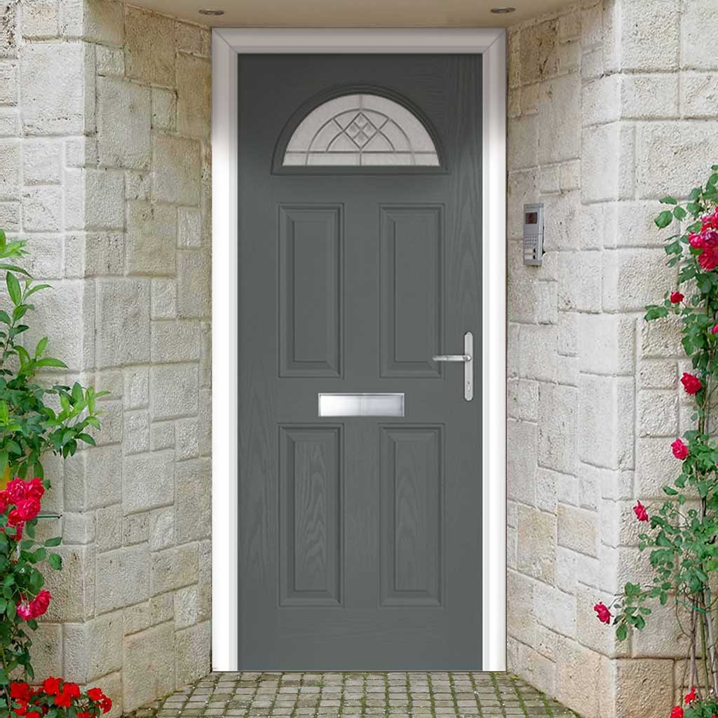 Premium Composite Entrance Door Set - Tuscan 1 Danthorpe Glass - Shown in Mouse Grey