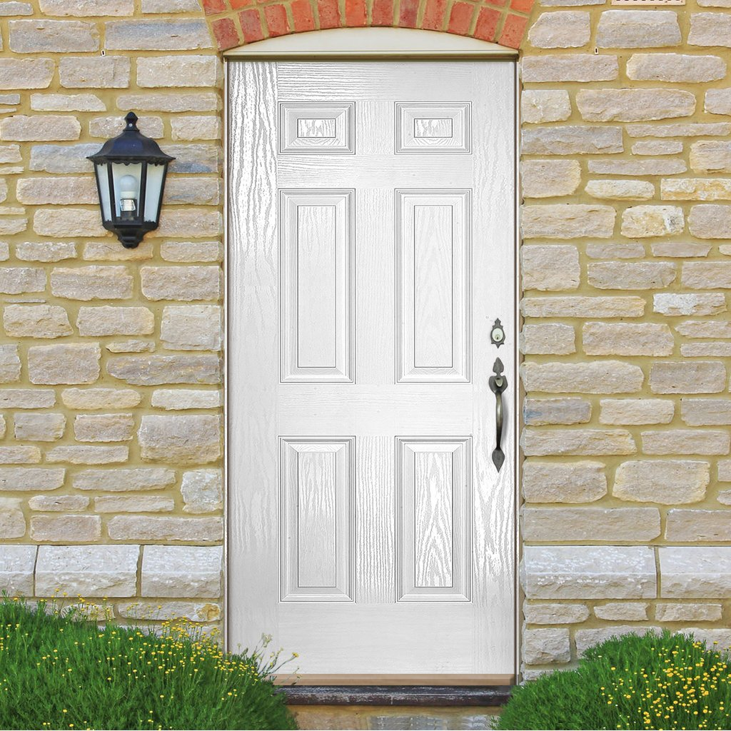 GRP White Colonial 6 Panel Composite Door