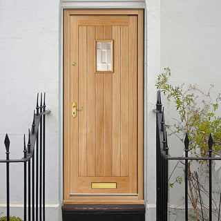 Image: Suffolk Oak External Door - Part Obscure Double Glazing