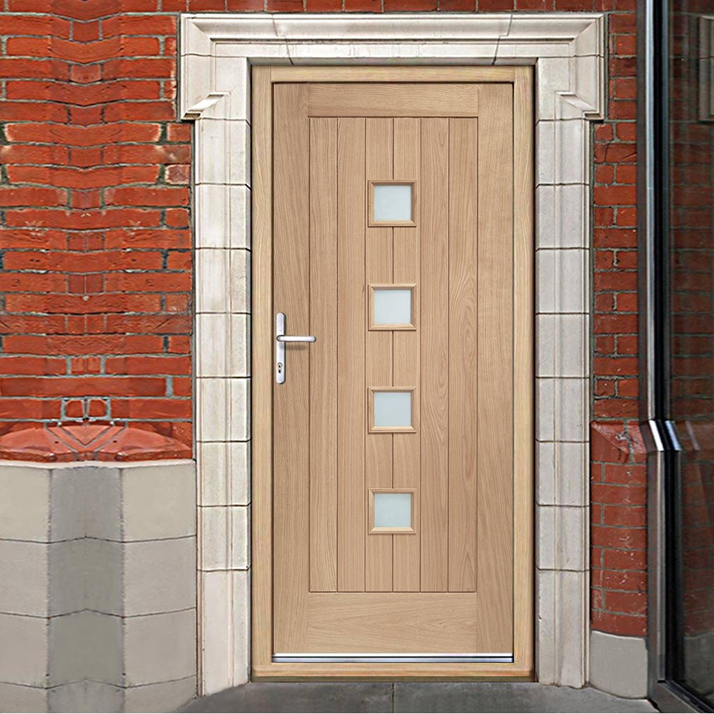 Siena External Oak Door and Frame Set with Fittings - Frosted Double Glazing