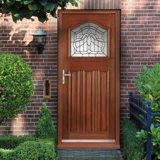 Image: Estate Crown External Hardwood Door and Frame Set with Lead Caming Double Glazing
