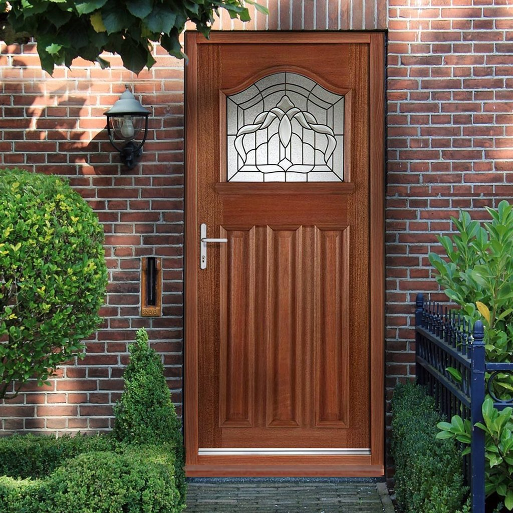 Estate Crown Hardwood External Door and Frame Set with Fittings - Double Glazing
