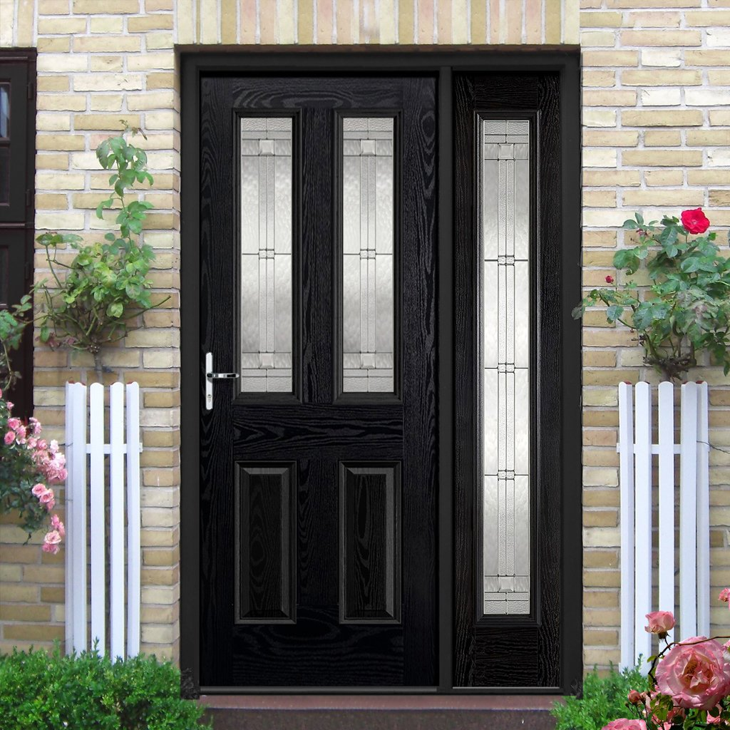 GRP Black & White Malton Leaded Double Glazed Composite Door - Leaded Single Sidelight