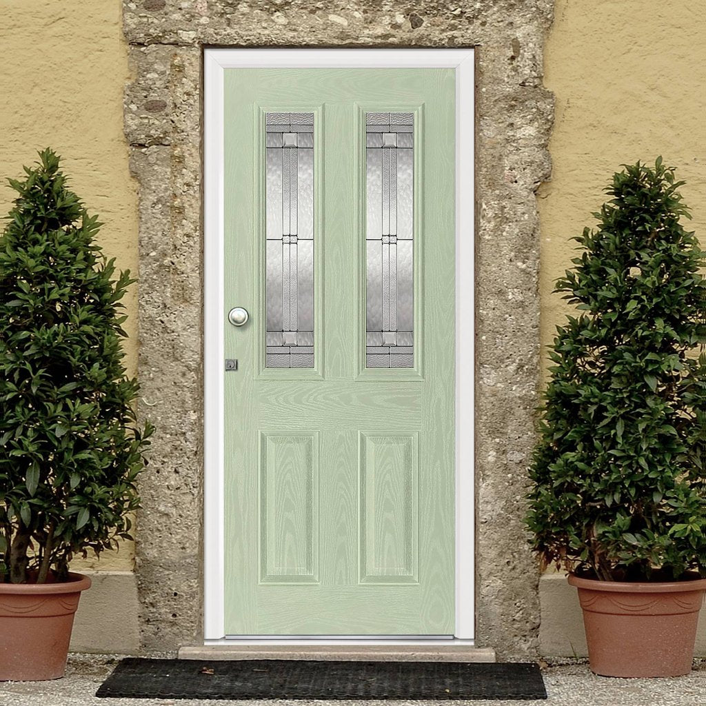 GRP Green & White Malton Composite Door - Leaded Double Glazing