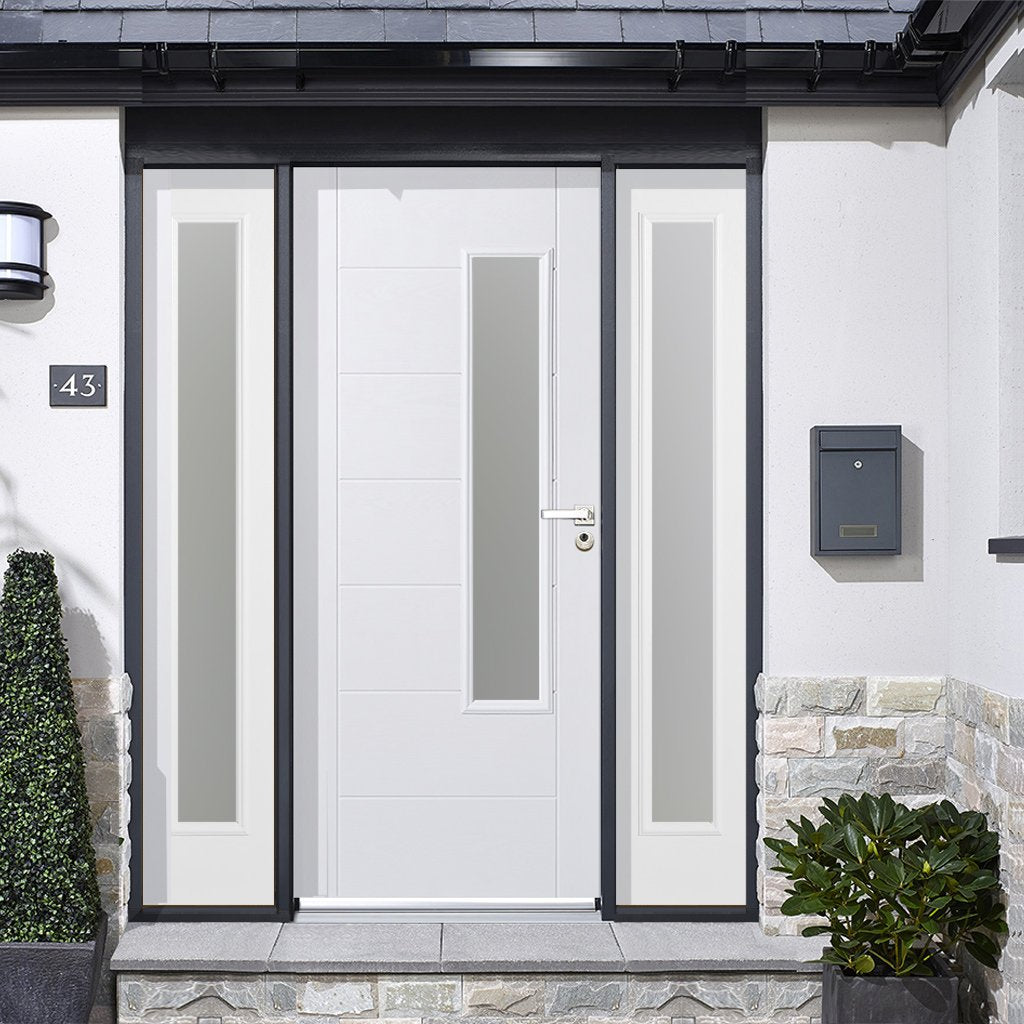 GRP White Newbury Frosted Double Glazed Composite Door - Two Frosted Sidelights