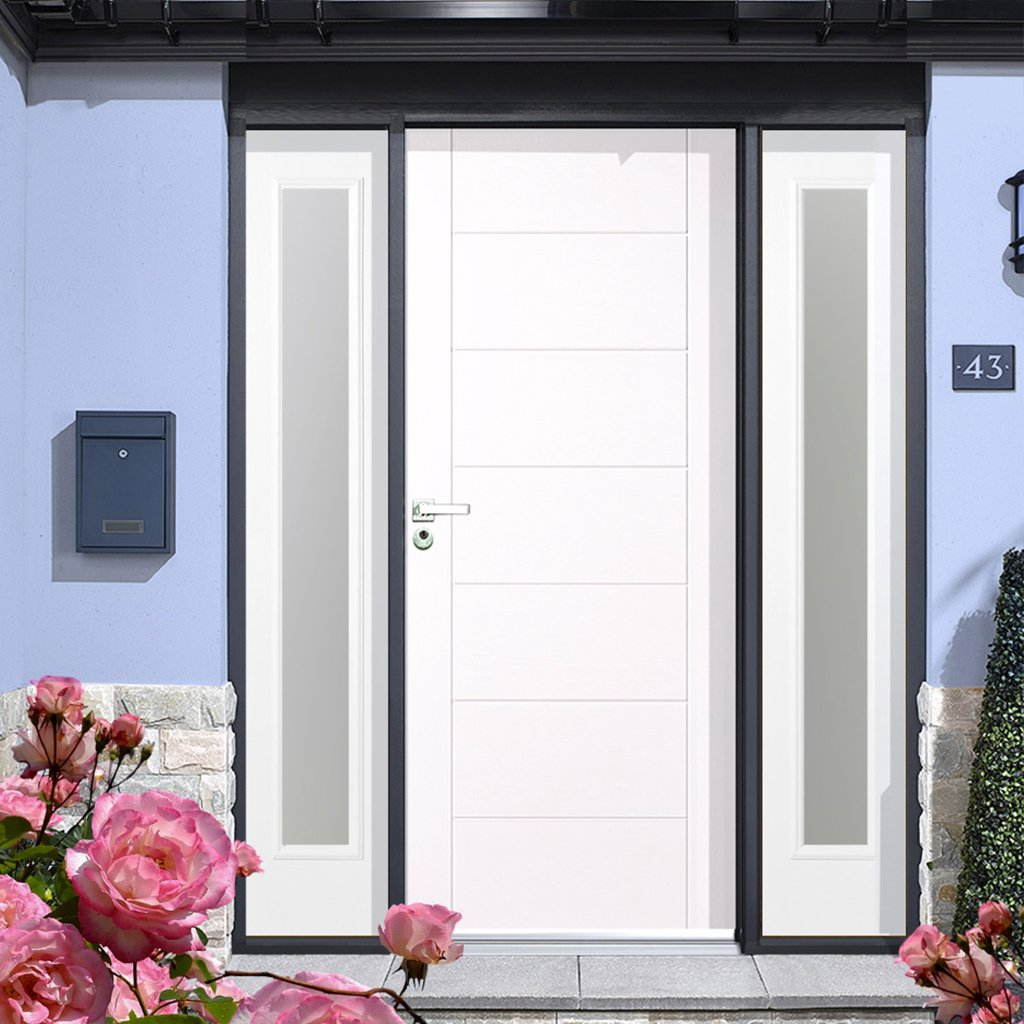 GRP White Modica Composite Door - Two Frosted Sidelights