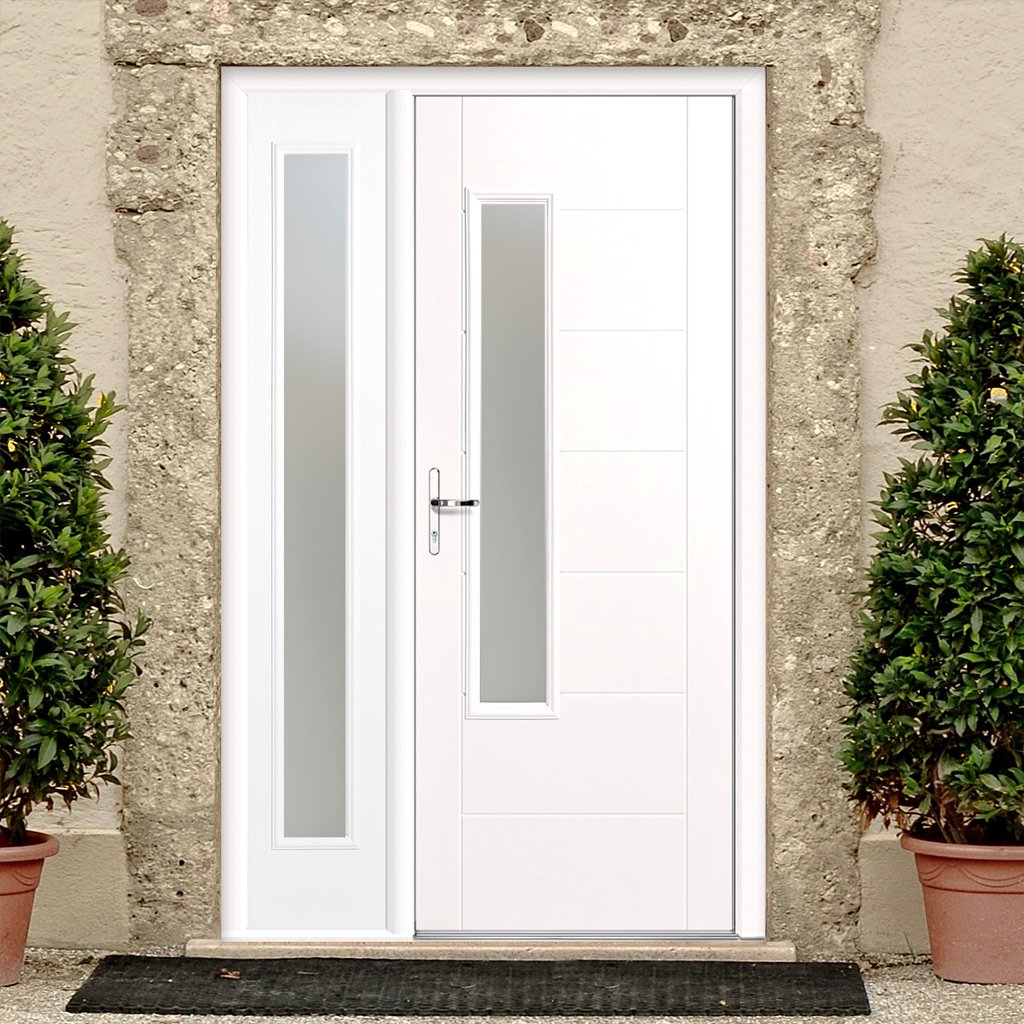 GRP White Newbury Frosted Double Glazed Composite Door - Frosted Single Sidelight