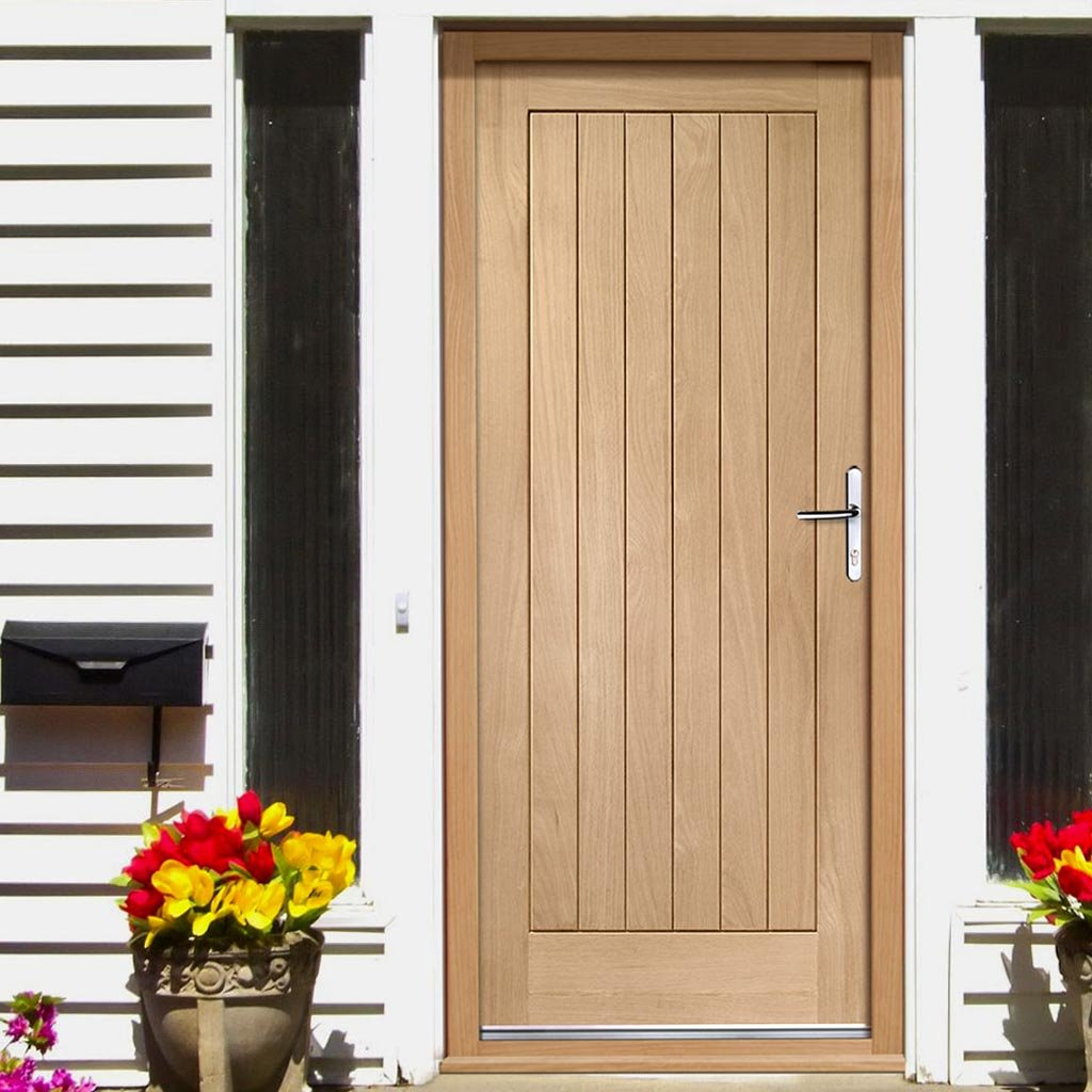 Suffolk External Flush Oak Door and Frame Set