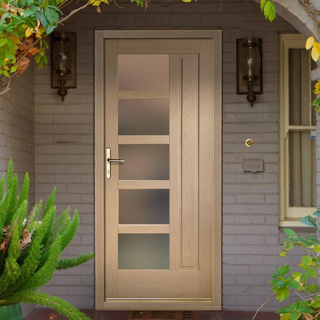 Lucca External Oak Door and Frame Set with Fittings - Frosted Double Glazing
