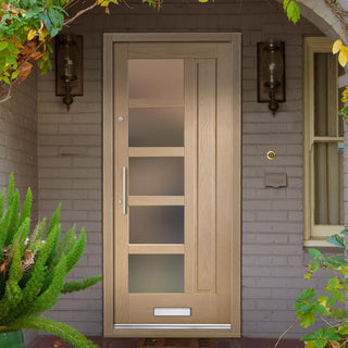 Image: Lucca Oak Door - Frosted Double Glazing