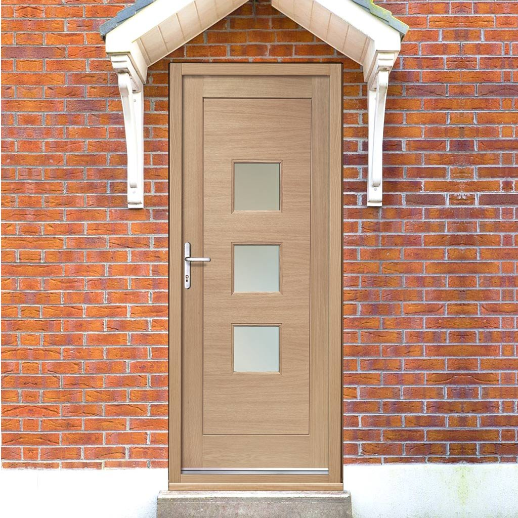 Turin Exterior Oak Door and Frame Set with Fittings - Frosted Double Glazing
