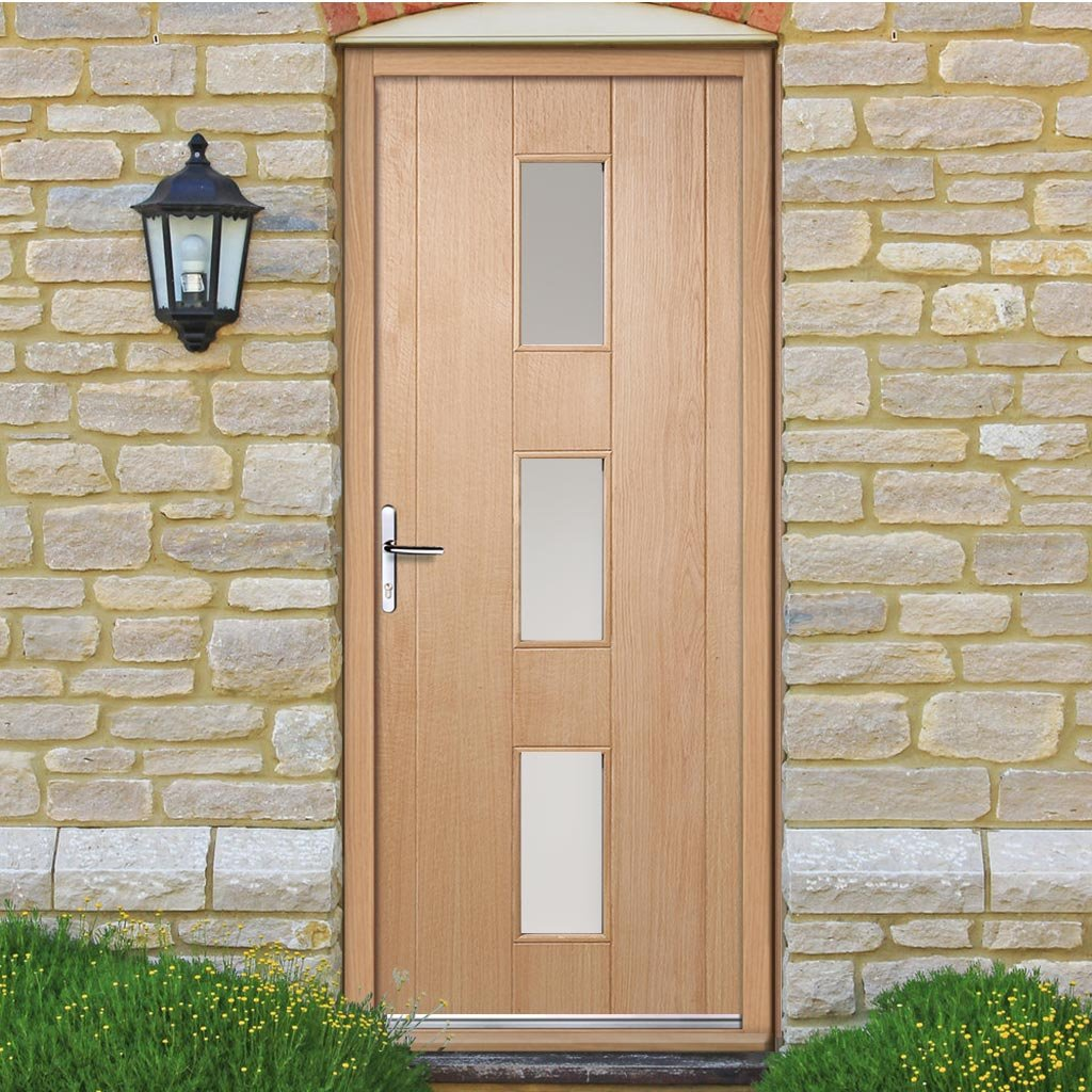 Copenhagen Exterior Oak Door and Frame Set with Frosted Double Glazing