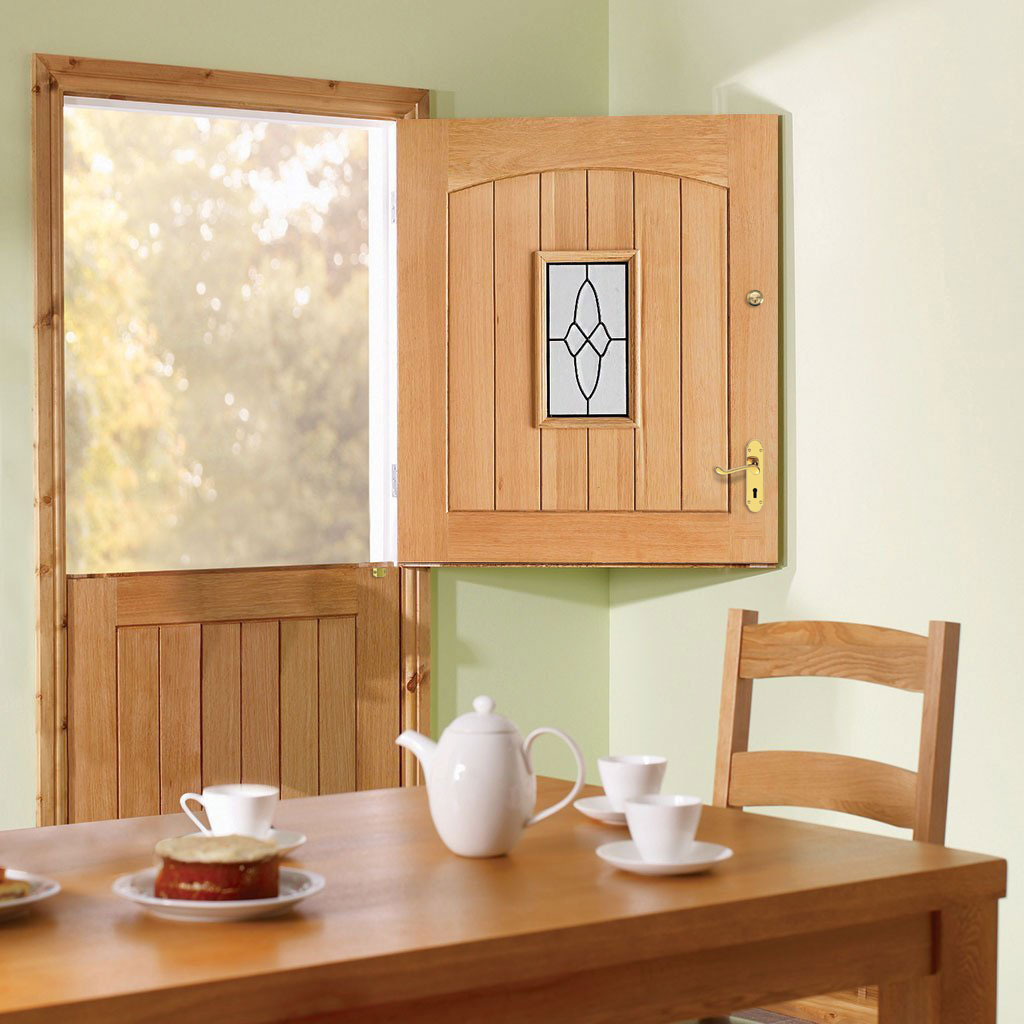 Cottage Stable Oak Door - 1L Leaded Tri Glazing