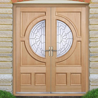 Image: Empress External Oak Double Door and Frame Set with Zinc Clear Tri Glazing